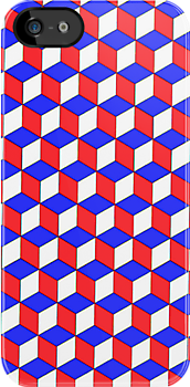Cool Red, Blue and White cube Illusion iPhone case. by Domsbubble