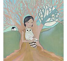 Love of a Girl and her Owl Photographic Print