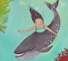 Girl and Whale, swimming together by Helga McLeod