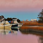Sun Setting At Murrells Inlet Marina by Kathy Baccari