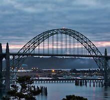 Yaquina Bay Bridge before Sunrise by cjfehr