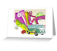 60's Van with Foulli and Gerbera in White Greeting Card