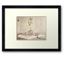 Vintage Still Life with Pearls and Book  Framed Print
