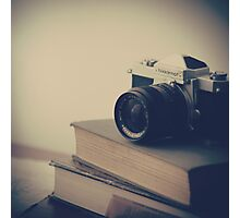 Vintage Camera and Books  Photographic Print