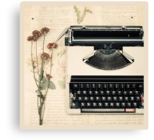 Retro Typewriter and Dried Flowers  Canvas Print