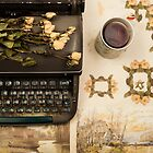 Typewriter, Tea and Dried Flowers  by Andreka