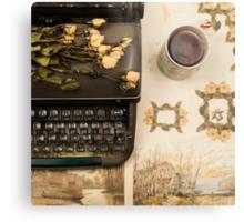Typewriter, Tea and Dried Flowers  Metal Print