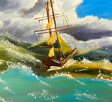 Sailing Ship in a Storm by PamelaMeredith