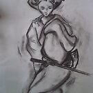 Girl with Sword - Charchol drawing by Meaghan Louise