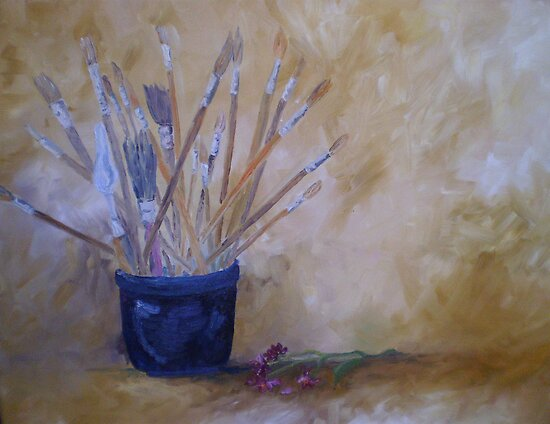 The Artist's Brushes Still Life in Oils by Meaghan Louise