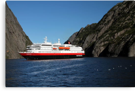 Hurtigruten Ship in Troll Fjord by Laurel Talabere