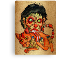 zombie eating bacon cat Canvas Print