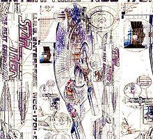 Enterprise D Vintage Schematic  by retropopsugar