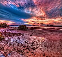 Low tide at sunset by GeoffSporne