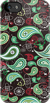 Black And Green Retro Paisley Pattern by artonwear