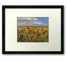 Poppy Field with Storm Clouds Framed Print