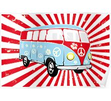 VW T1 van retro illustration Poster
