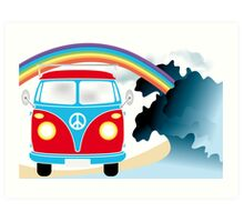 VW T1 van on the beach under rainbow Art Print