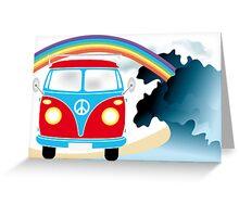 VW T1 van on the beach under rainbow Greeting Card