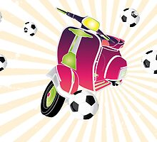 Retro vespa playing football by schtroumpf2510