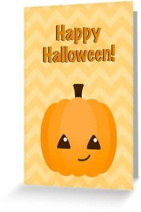 Cute Kawaii Jack o'Lantern Halloween Greeting by runninragged