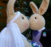 Knitted Bride and Groom Rabbits by mrsmcvitty