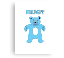 Sad Blue Bear - Hug? Canvas Print