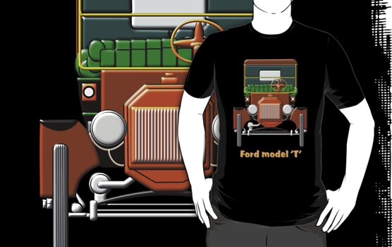 1908 Cabriolet Ford Model  'T' shirt design by Dennis Melling