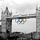 Olympic rings on Tower Bridge (selective colour) by ChloeFaye