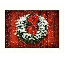 Snowy Christmas Wreath Art Print