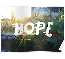 urban hope with wasteground wild poppies Poster