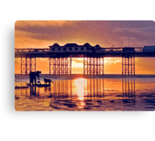 Starlings above Brighton Pier at Sunset Canvas Print