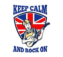 Keep Calm Rock On British Flag Queen Granny Guitar by patrimonio