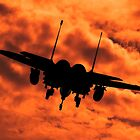 USAF Strike Eagle F15 E flying into the Sunset. by Clare Scott