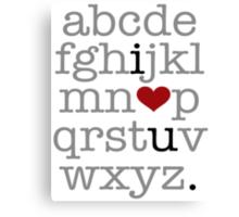 I Heart U. Alphabet Canvas Print