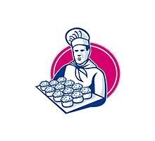 baker serving tray of pork meat pies retro by retrovectors