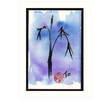 """Kindness"" - watercolor & ink brush pen mixed media painting ladybug & bamboo Art Print"
