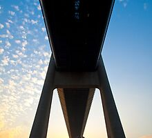 Tsing Ma Bridge in Hong Kong at sunset time by kawing921
