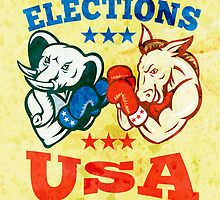 Democrat Donkey Republican Elephant Mascot USA by patrimonio