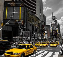 Yellow Cabs race on the Time Square by hannes cmarits