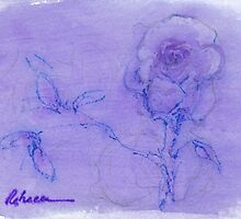 """Delicate"" - mixed media watercolor painting of a Rose by Rebecca Rees"