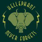 Hellephant - Maulive Green on Dark Green by Koobooki