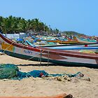 Beach Boats Colorful Sea Water Wave by HQPhotos