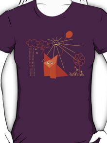 Cute Origami Fox Is Happy T-Shirt