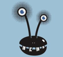 Funny Cartoon Alien With Halftone Eyes  by Boriana Giormova