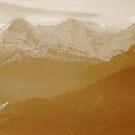 Sisters of the Swiss Alps in Sepia by M-EK