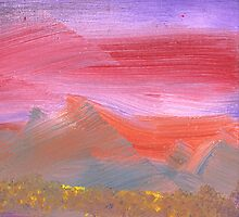 Abstract - Guash - Lovely meadows 1 of 2 by Mike  Savad