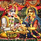 Radha Krishna. Bhojan lila (detail) by Vrindavan Das