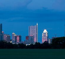 Austin Skyline at dusk from Zilker Park lawn by Jeff Kauffman