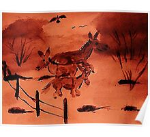 Susy, Jenny and Snucks our Donkeys, watercolor Poster